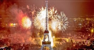 Eiffel Tower with fireworks for new year