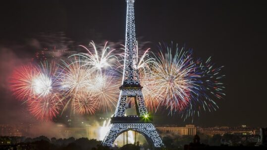 Eiffel Tower of Paris with fireworks for new year